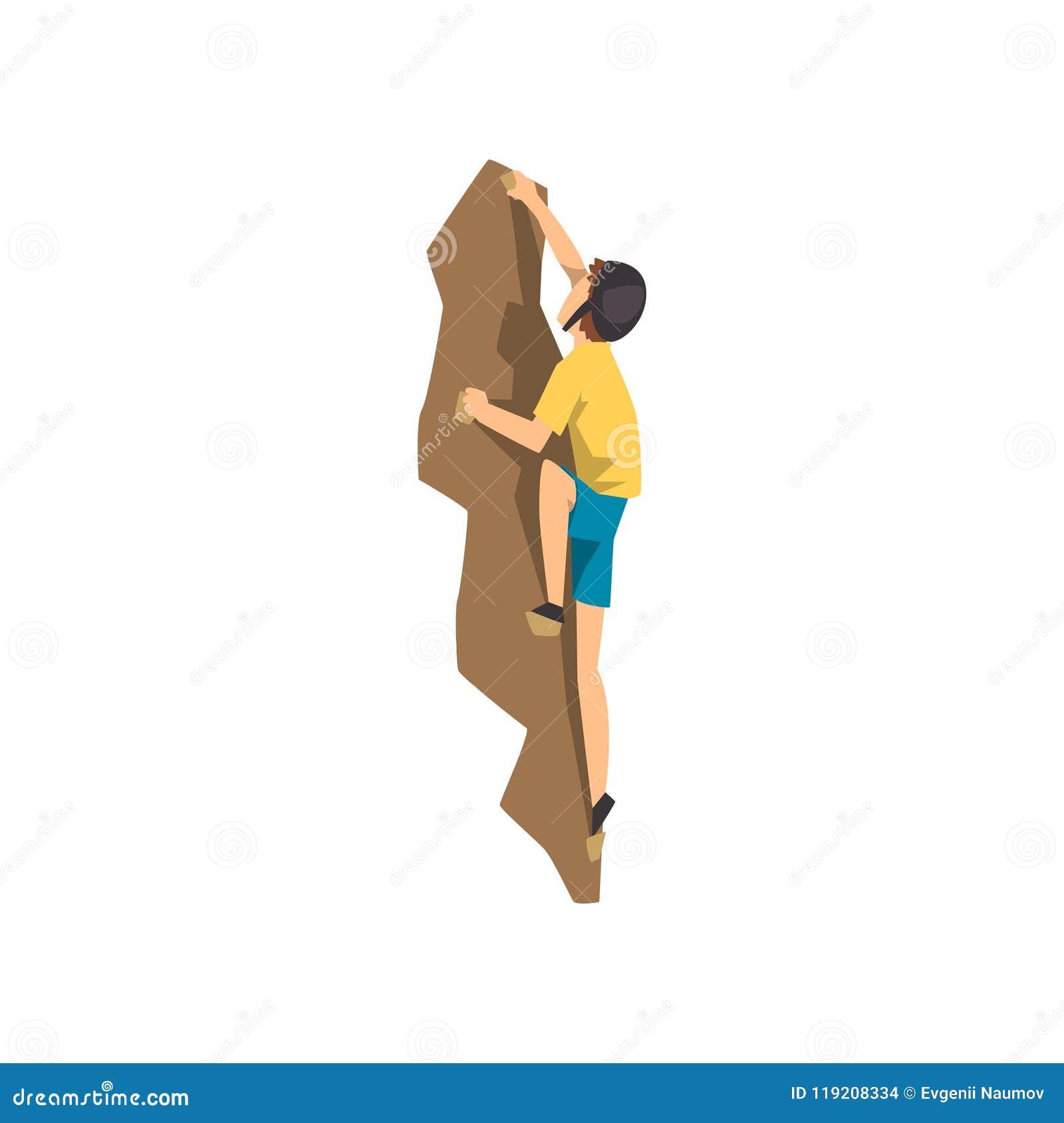 O montanhista na parede de escalada da rocha do capacete protetor, o esporte extremo e o conceito da atividade de lazer vector a