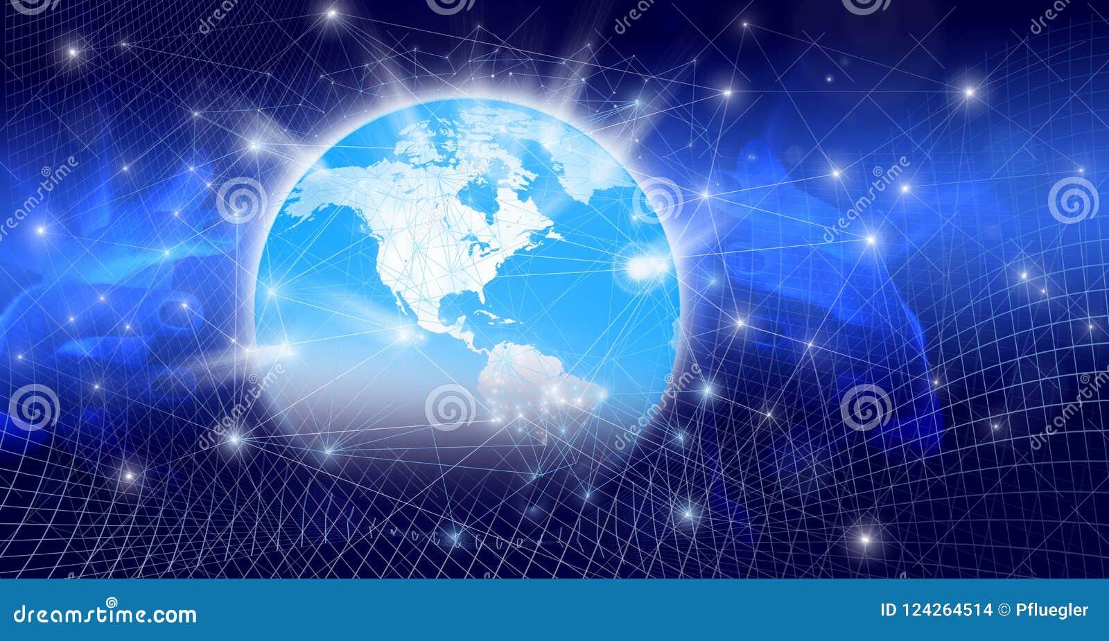 O mundo global com relações digitais e conexões de incandescência