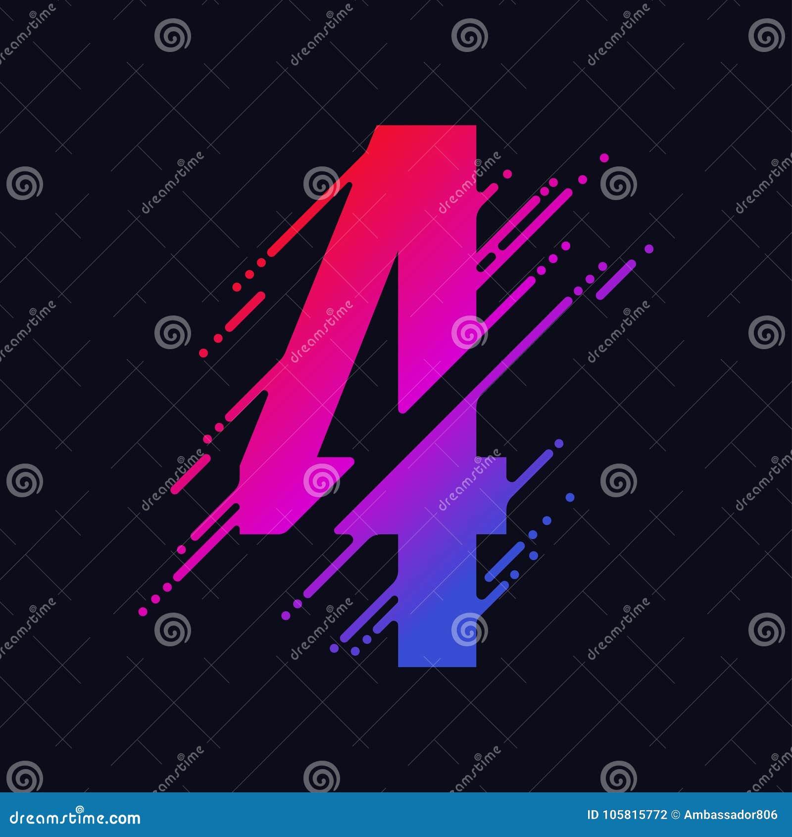 O número com respingo líquido e gotas, dígitos coloridos abstratos, cobre o símbolo matemático Vetor