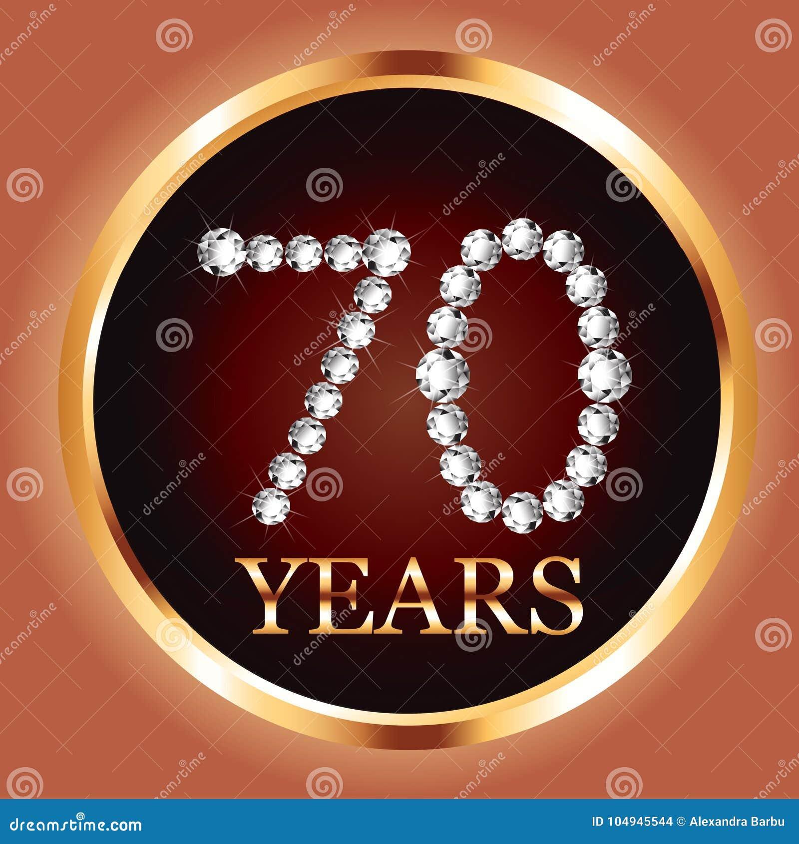 70 O Número Del Diamante De La Invitación Del Oro De La