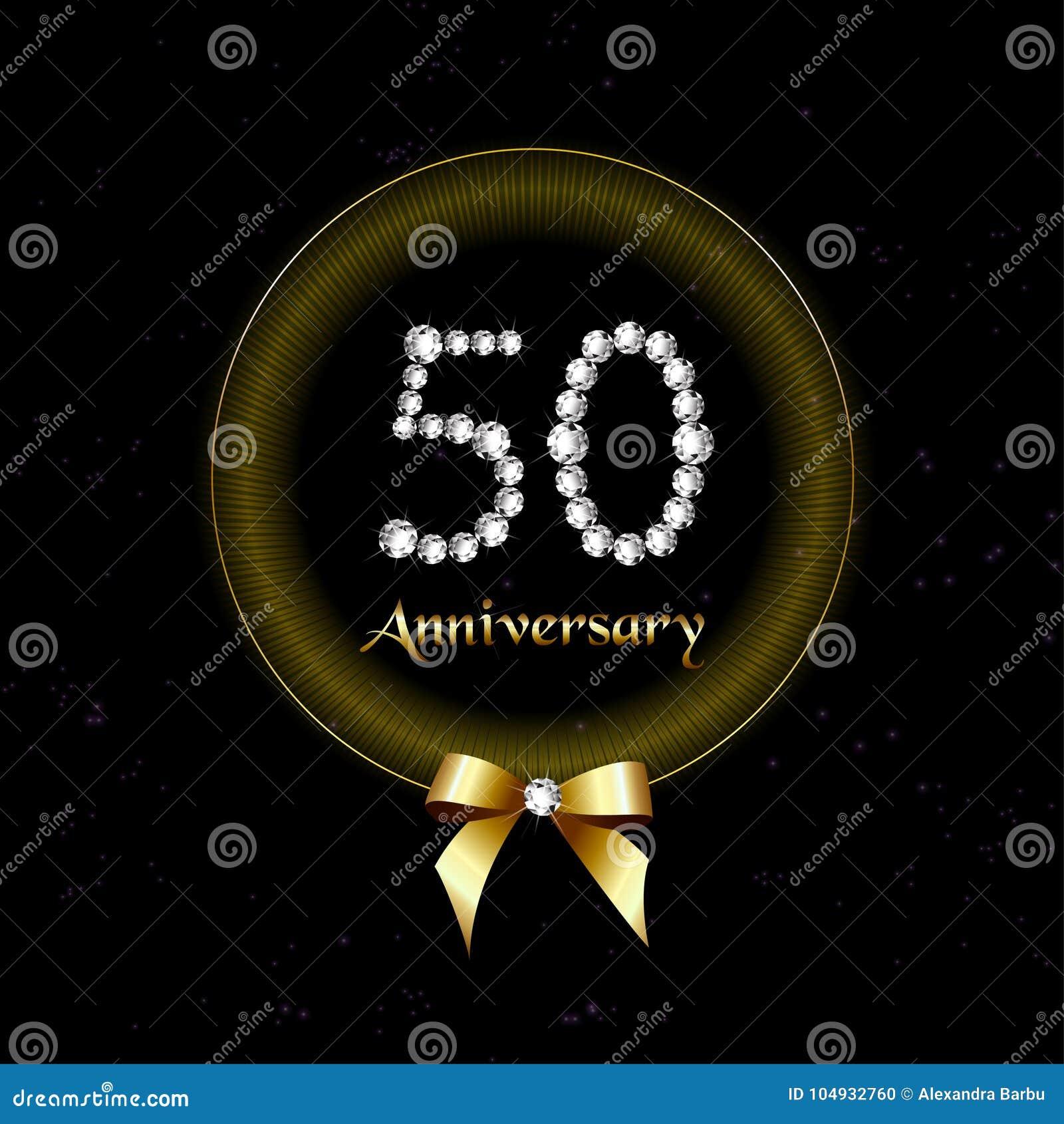 50 O Número Del Diamante De La Invitación De La Tarjeta Del