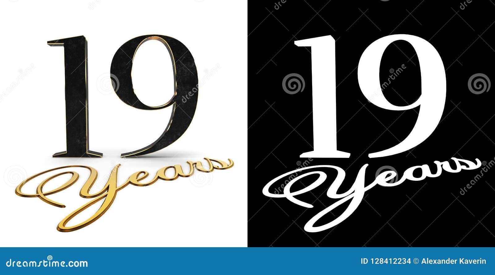 O número dourado dezenove numera 19 e os anos da inscrição com sombra da gota e canal alfa ilustração 3D