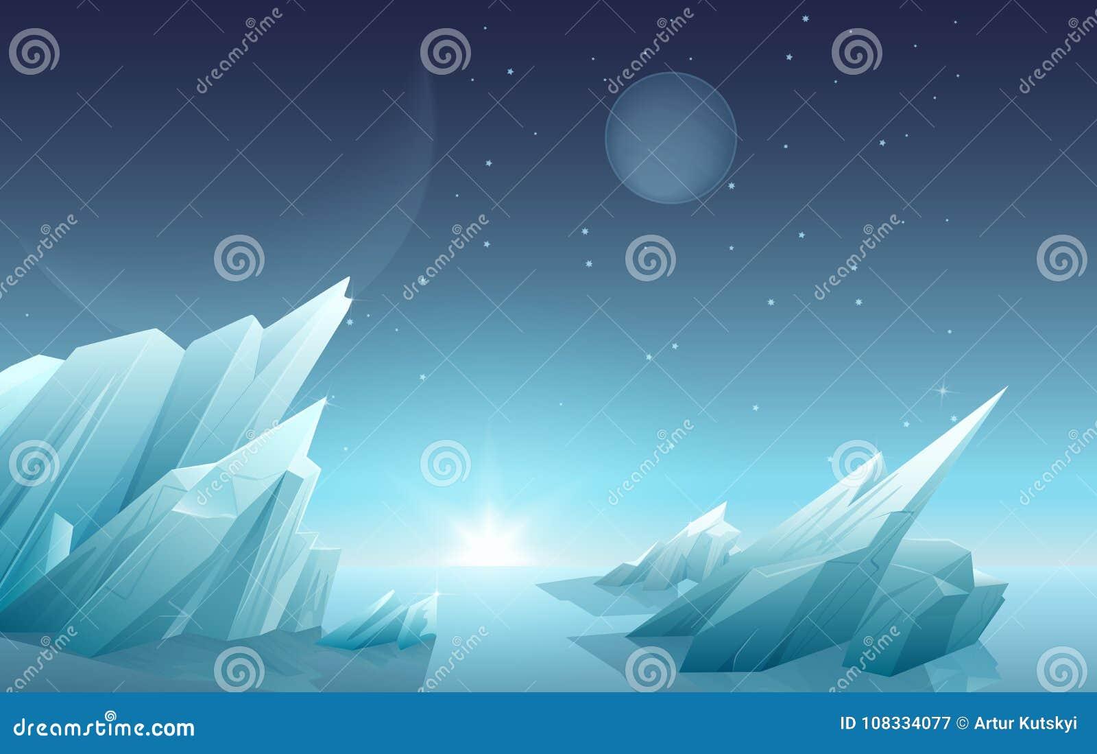 O nascer do sol em uma outra paisagem estrangeira do planeta com gelo balança, os planetas, estrelas no céu Panorama da natureza