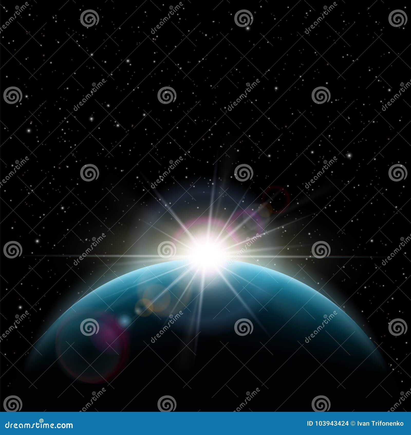 O nascer do sol stars o sol sobre a terra do planeta