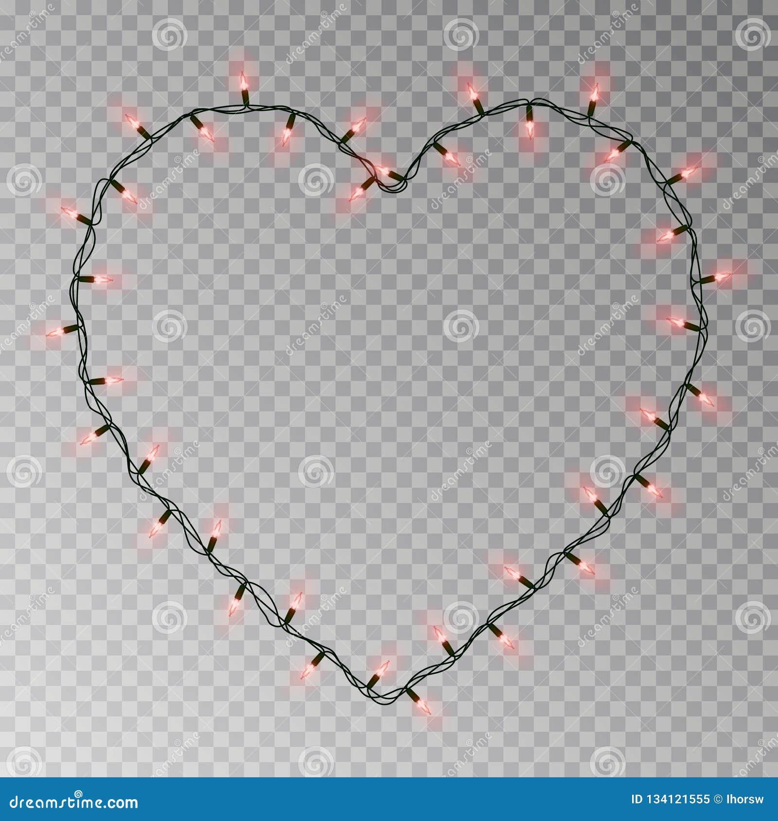 O Natal ilumina o vetor do coração Festão leve transparente isolada no fundo transparente realist