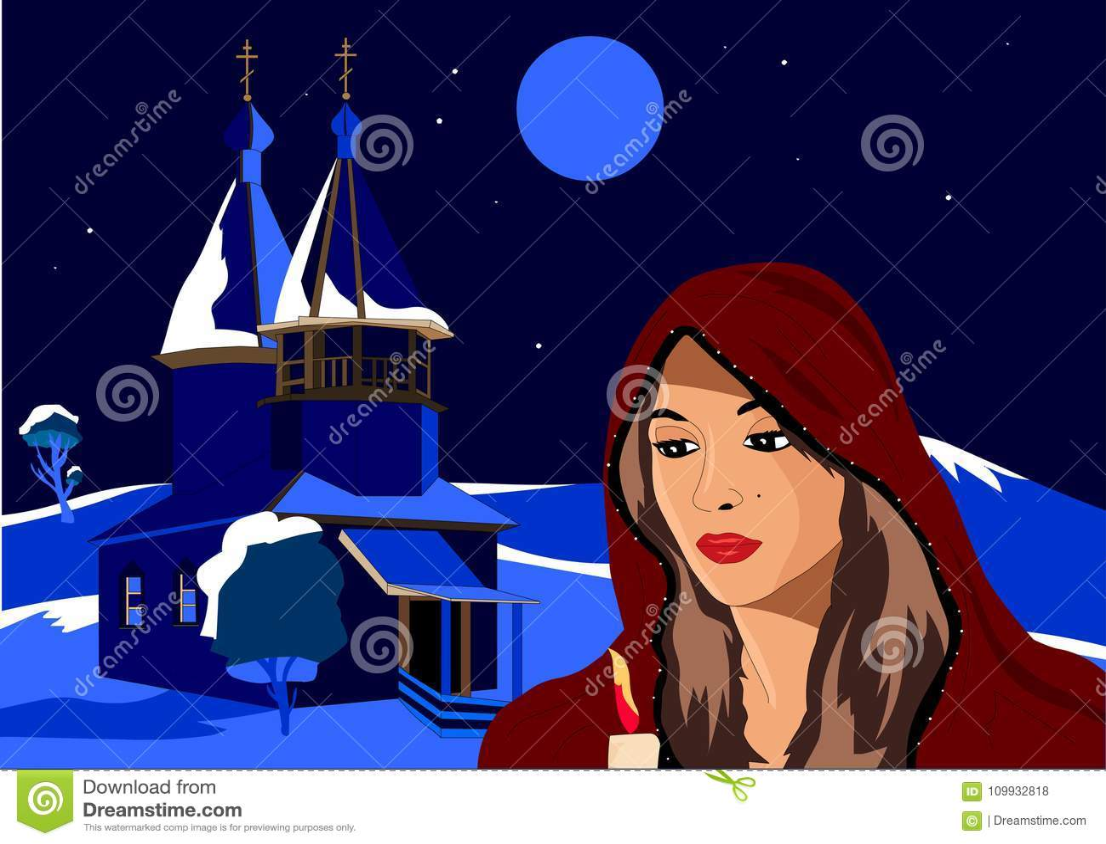 O Natal, menina no inverno que guarda uma vela, está ao lado da igreja