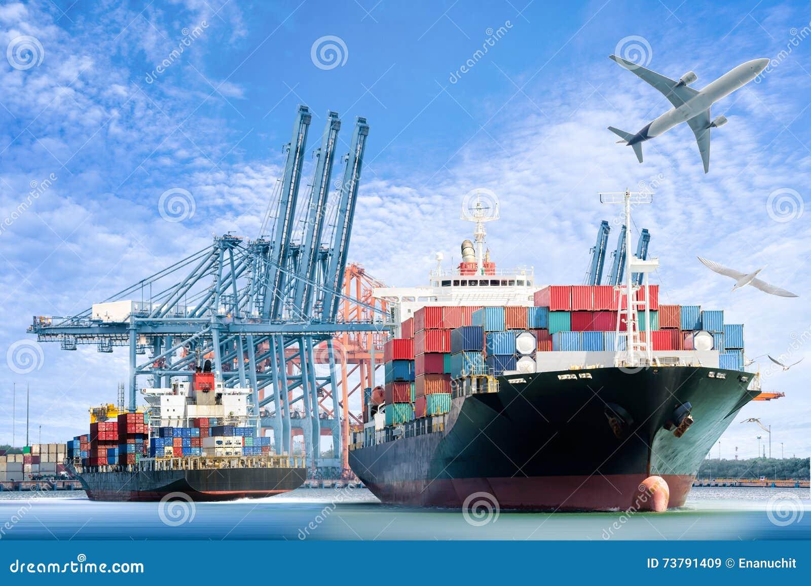 O navio e o avião de carga internacionais de carga do recipiente para a importação logística exportam o fundo