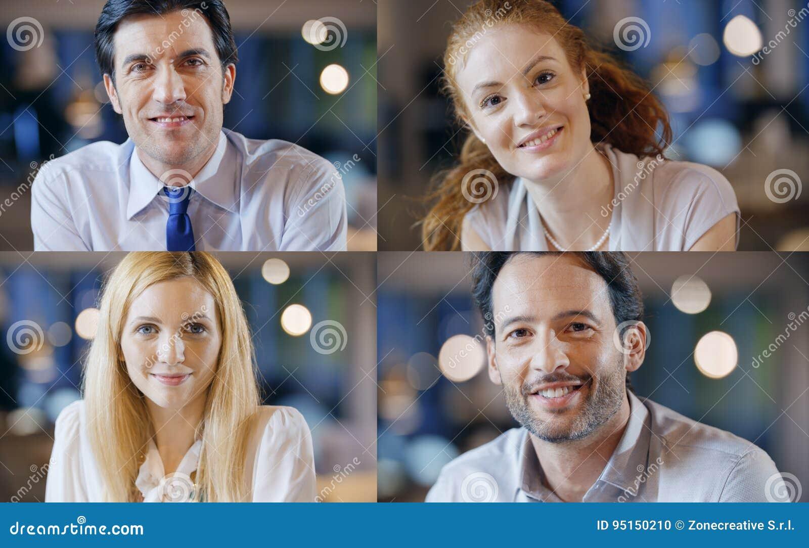 O negócio seguro feliz profissional misturou o grupo da coleção dos povos Adultos, jovens, mulher elegante, homem no escritório o