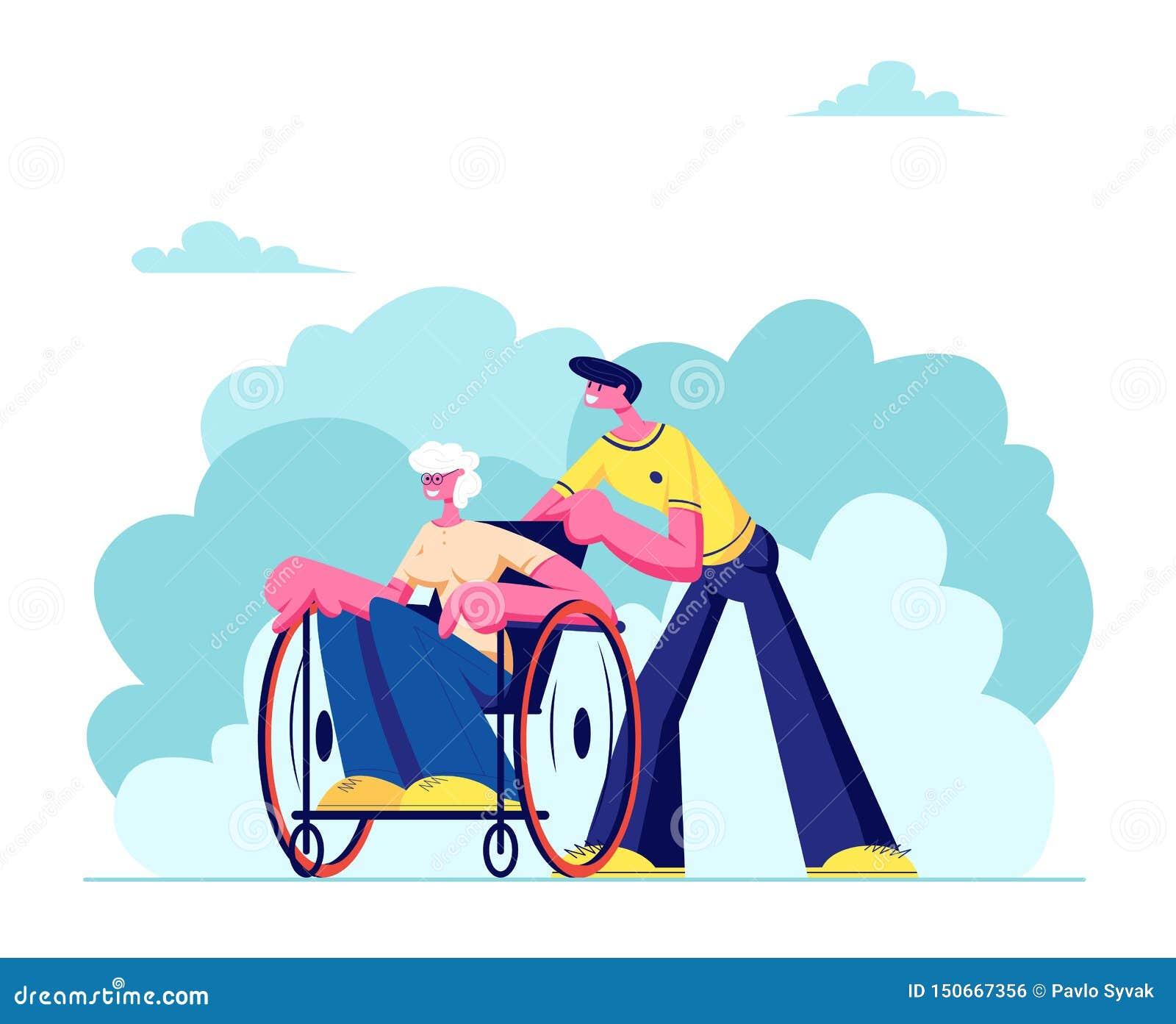 O neto novo passa o tempo com ar livre deficiente da avó Cuidado do assistente social da mulher superior doente que senta-se na c