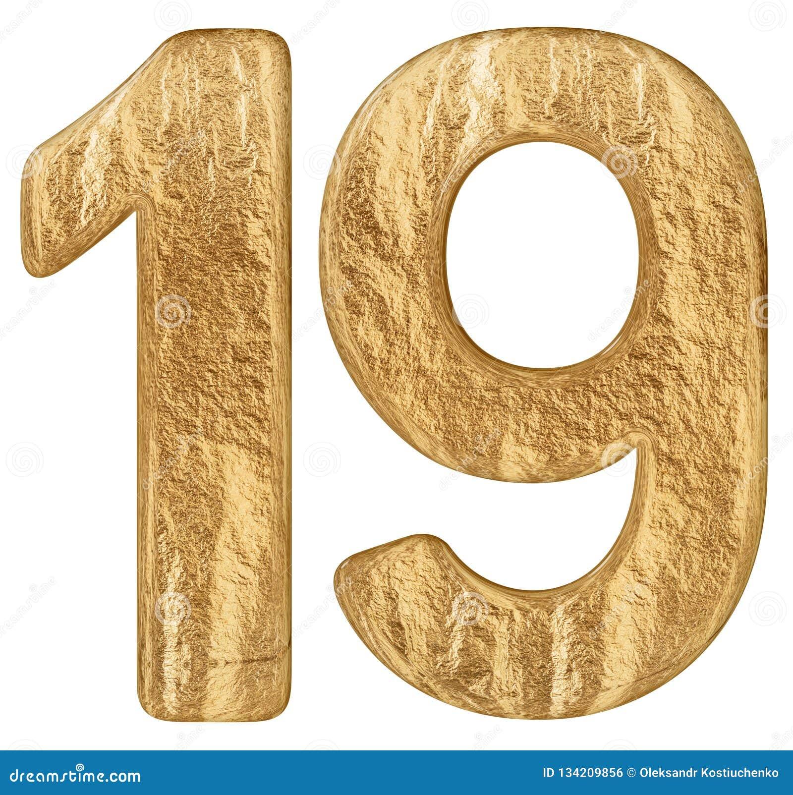 O numeral 19, dezenove, isolado no fundo branco, 3d rende