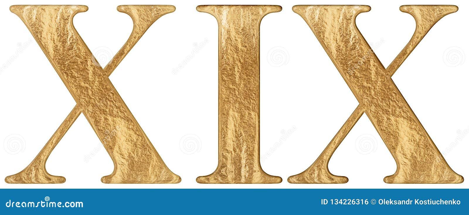 O numeral romano XIX, undeviginti, 19, dezenove, isolado no fundo branco, 3d rende