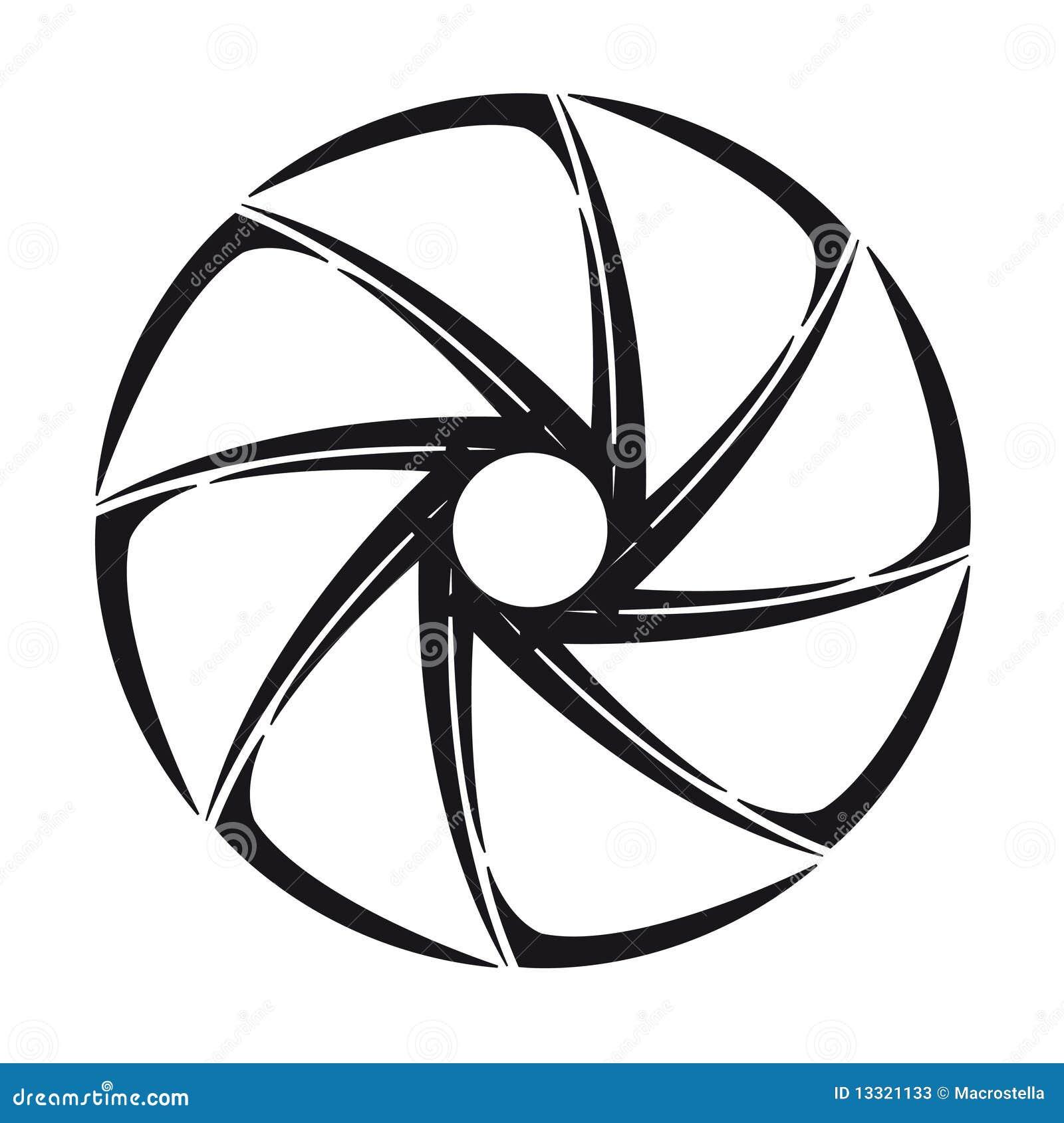 Diafragma Estilizado Cinzento Do Obturador Da Câmera Ilustração Do