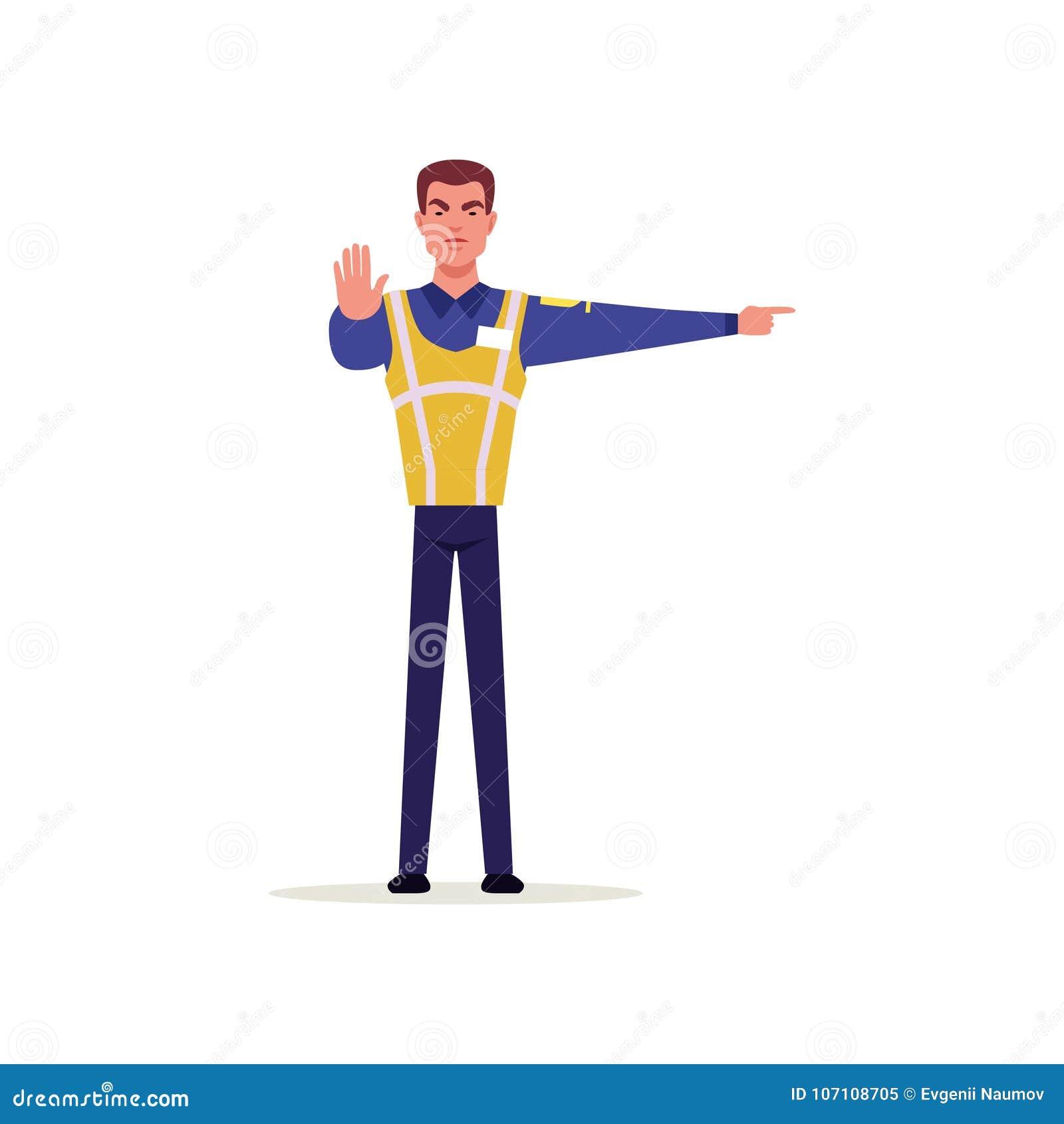 O oficial da polícia de trânsito no uniforme com a veste alta da visibilidade que está e que mostra assina com suas mãos, polícia