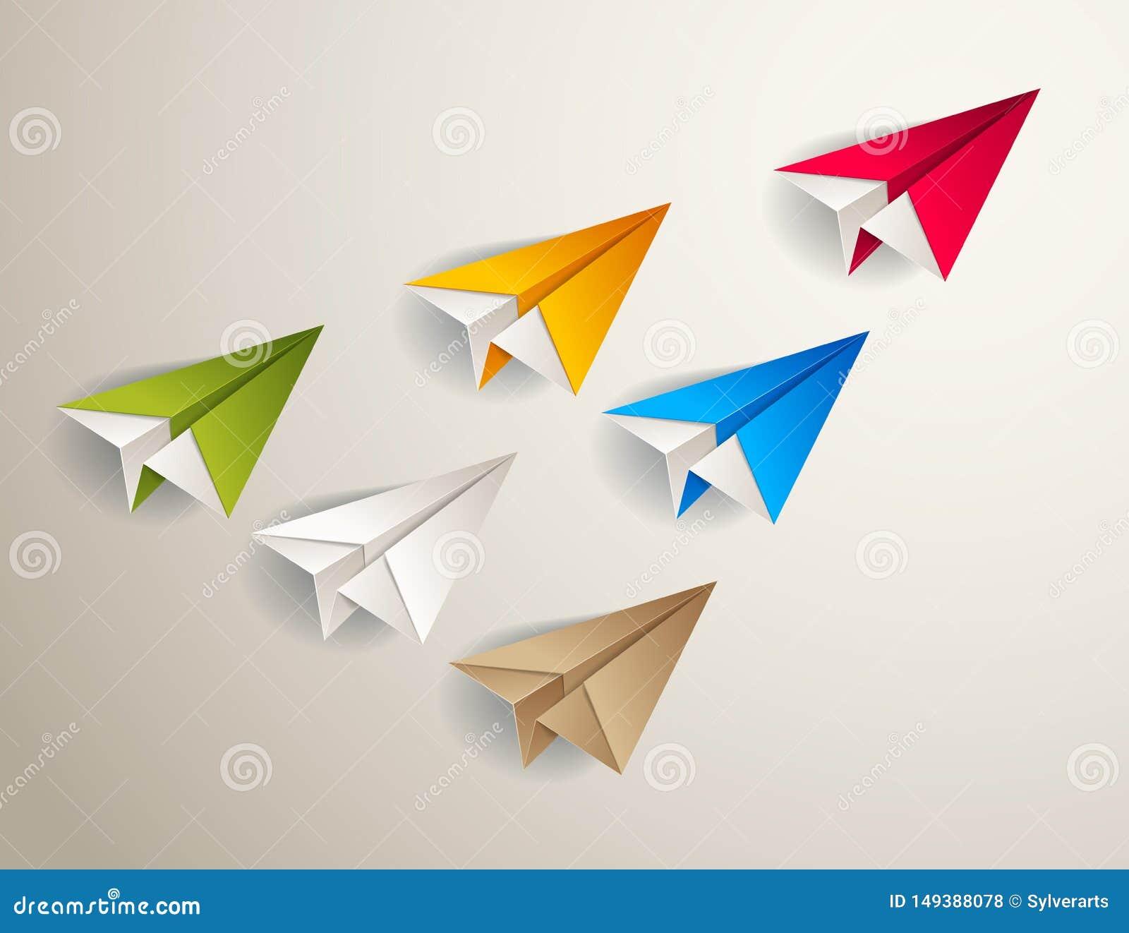 O origâmi de voo aplana conduzindo o grupo de planos menores, conceito da equipe da liderança do negócio