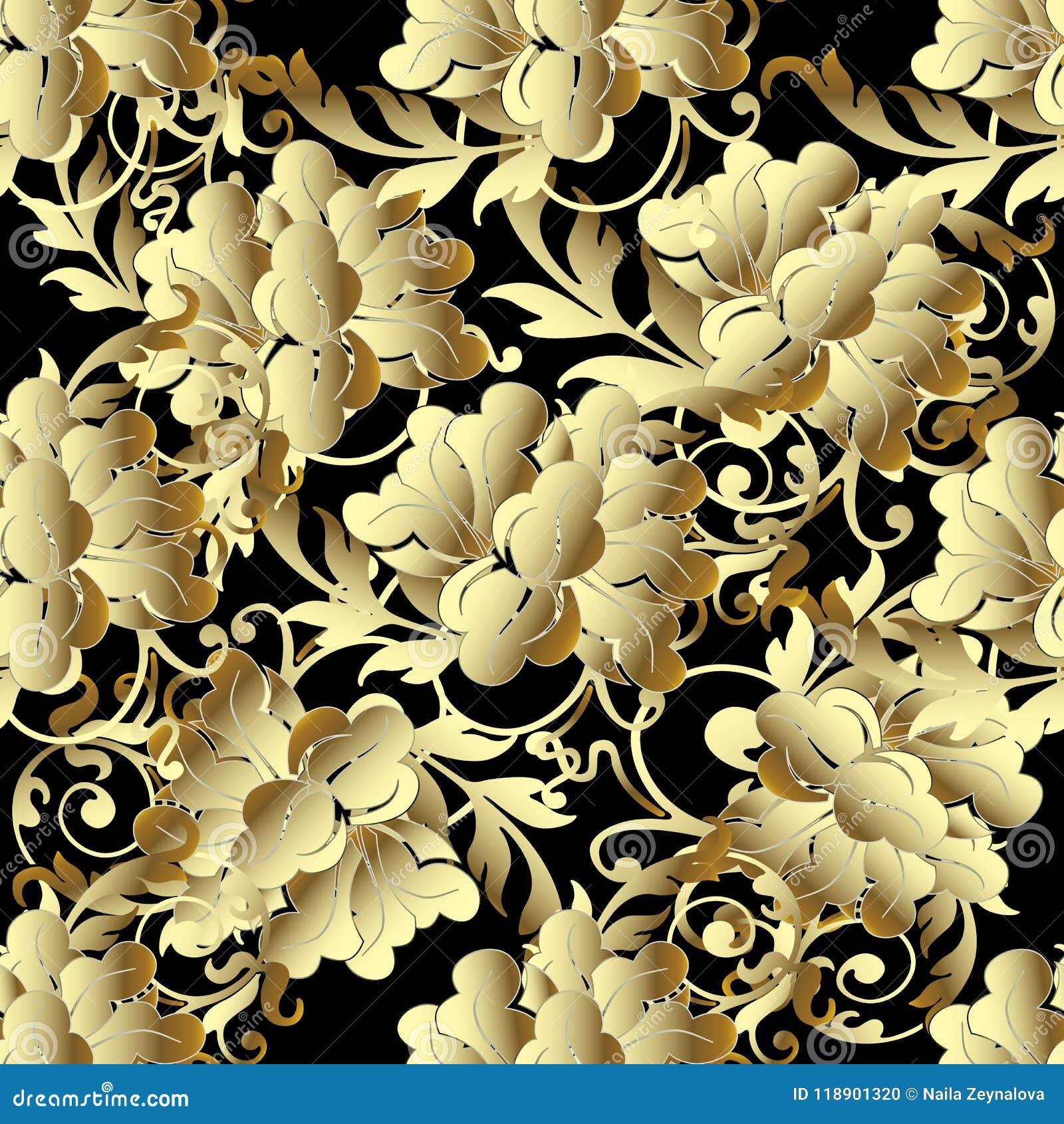 O ouro barroco 3d floresce o teste padrão sem emenda