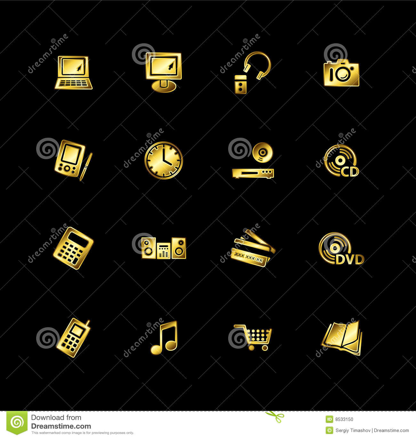 O ouro e-compra ícones
