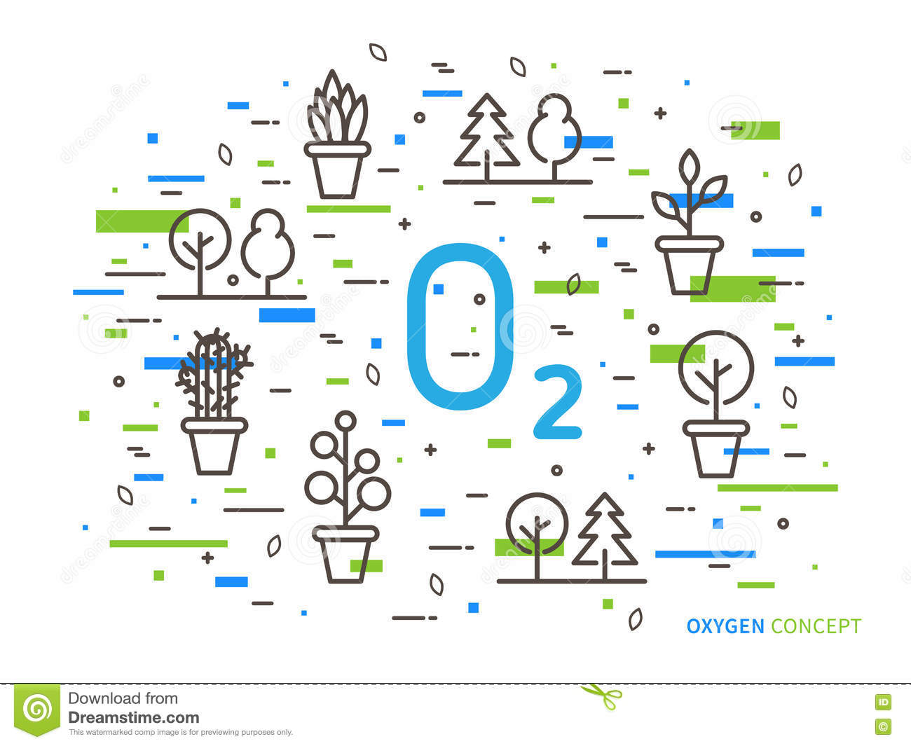 O2 oxygen linear vector illustration with house plants
