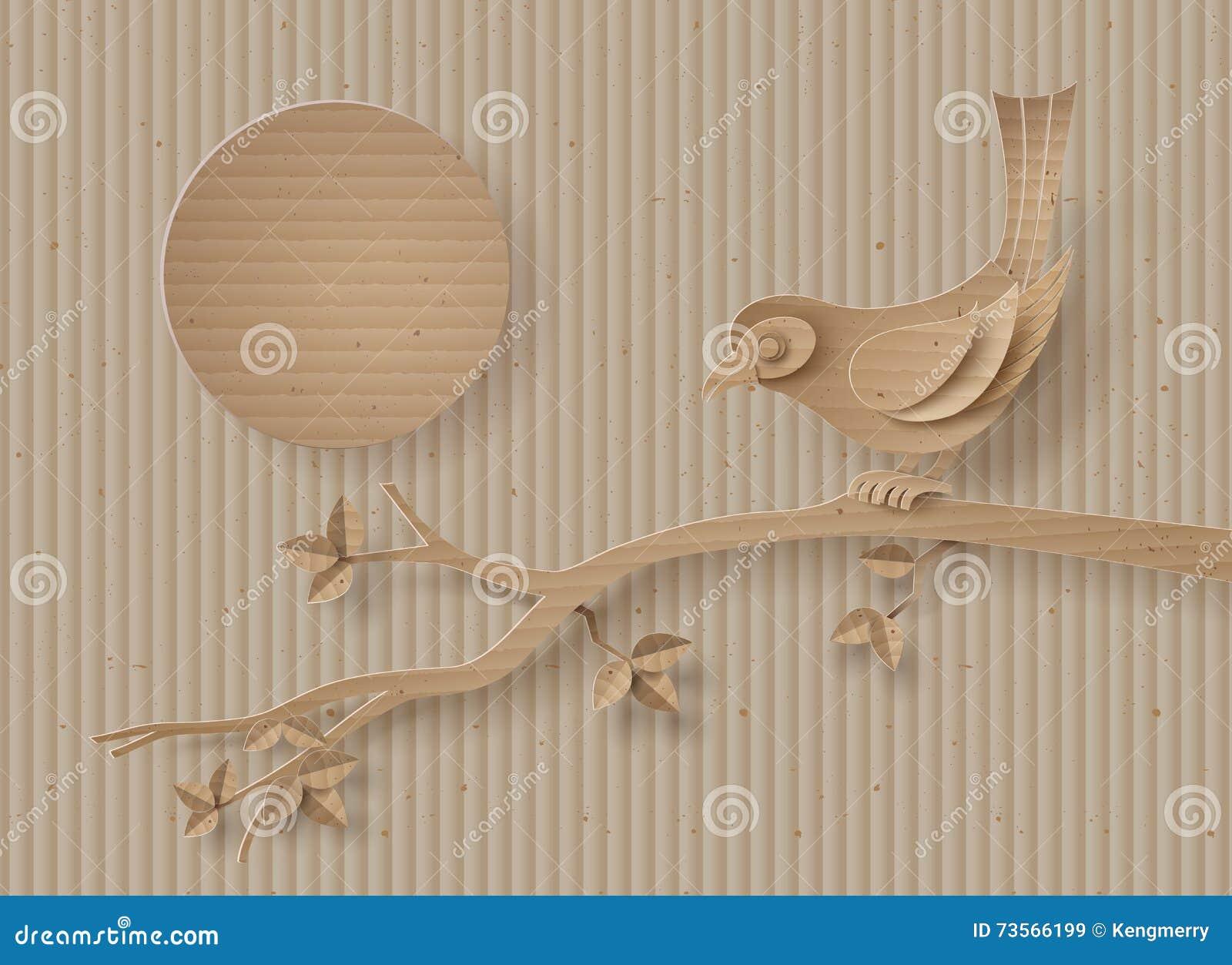 O pássaro empoleirou-se em um ramo de uma árvore