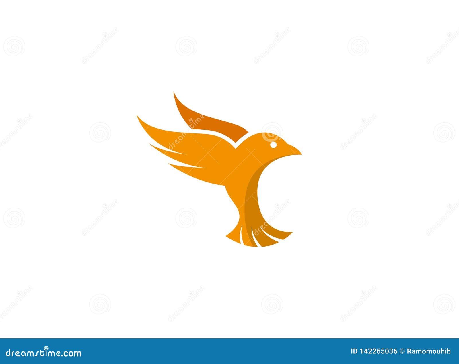 O pássaro mergulhou as asas abertas e voa para a ilustração do esign do logotipo
