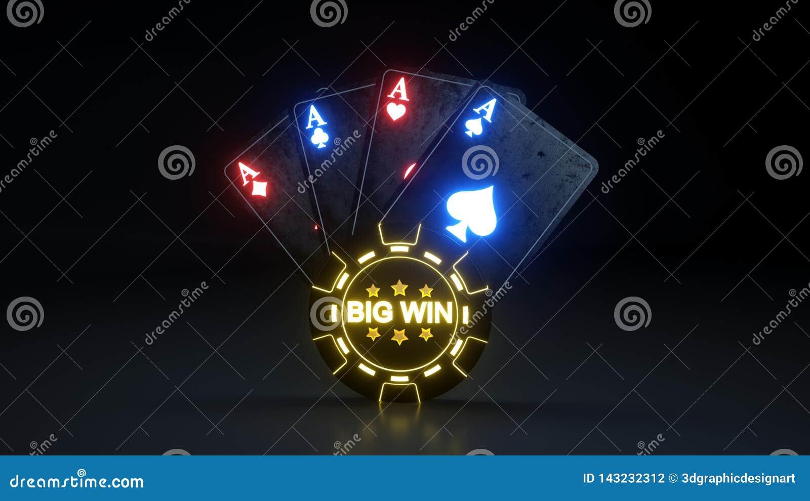 O pôquer de jogo do casino carda o conceito grande da vitória com as luzes de néon de incandescência isoladas no fundo preto - il