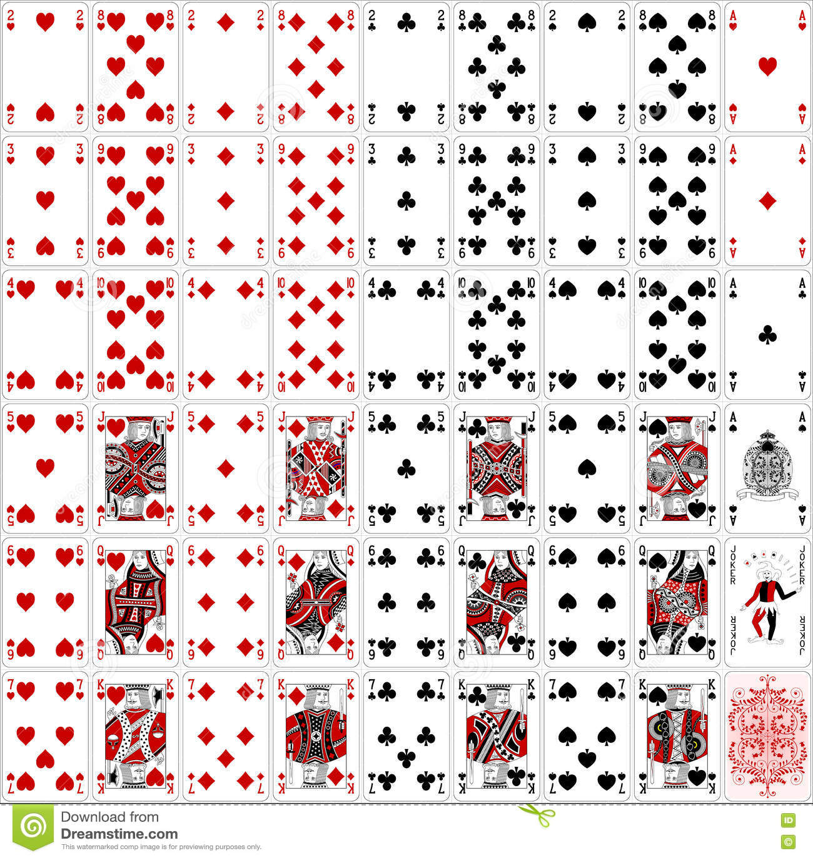 O pôquer carda o projeto clássico de duas cores do conjunto completo