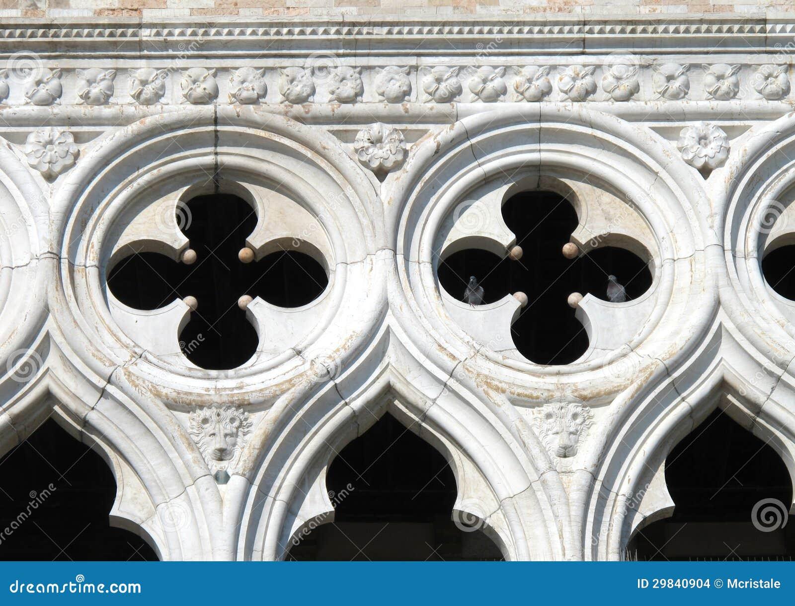 O palácio do Doge de Veneza no quadrado de St Mark em Veneza
