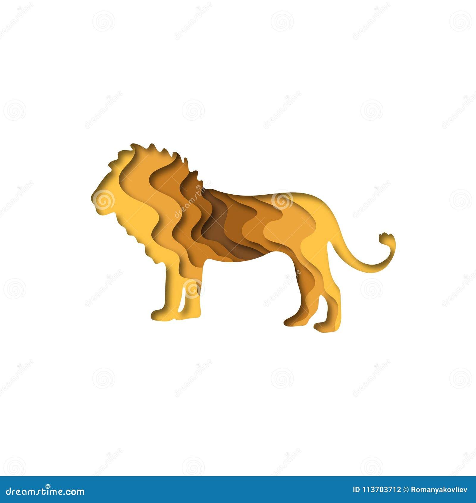 O papel cortou o leão, origâmi da forma 3D dos animais do safari Projeto na moda da forma do conceito Ilustração do vetor