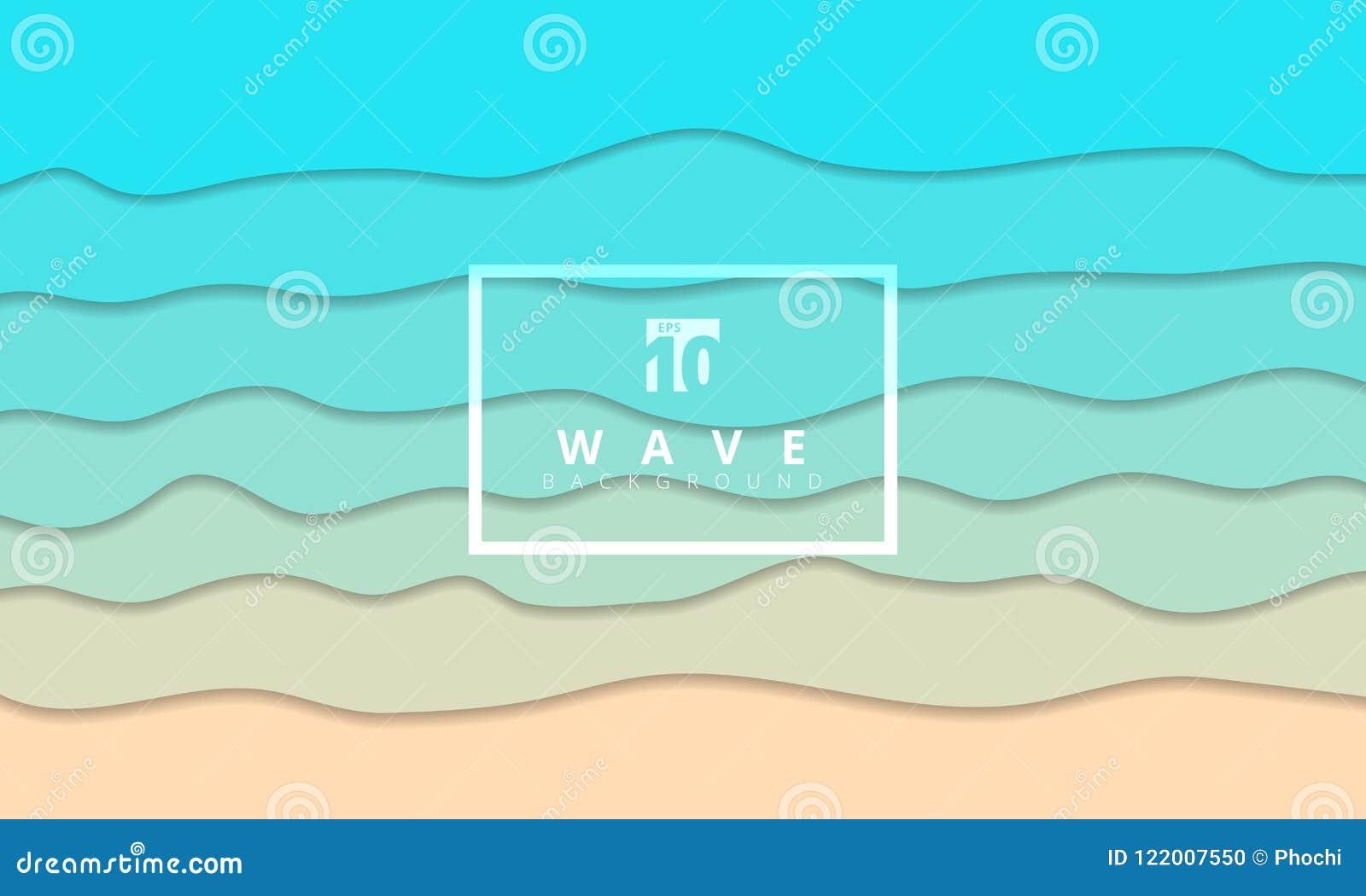 O papel de fundo azul do seacoast da onda abstrata do verão cortou o estilo
