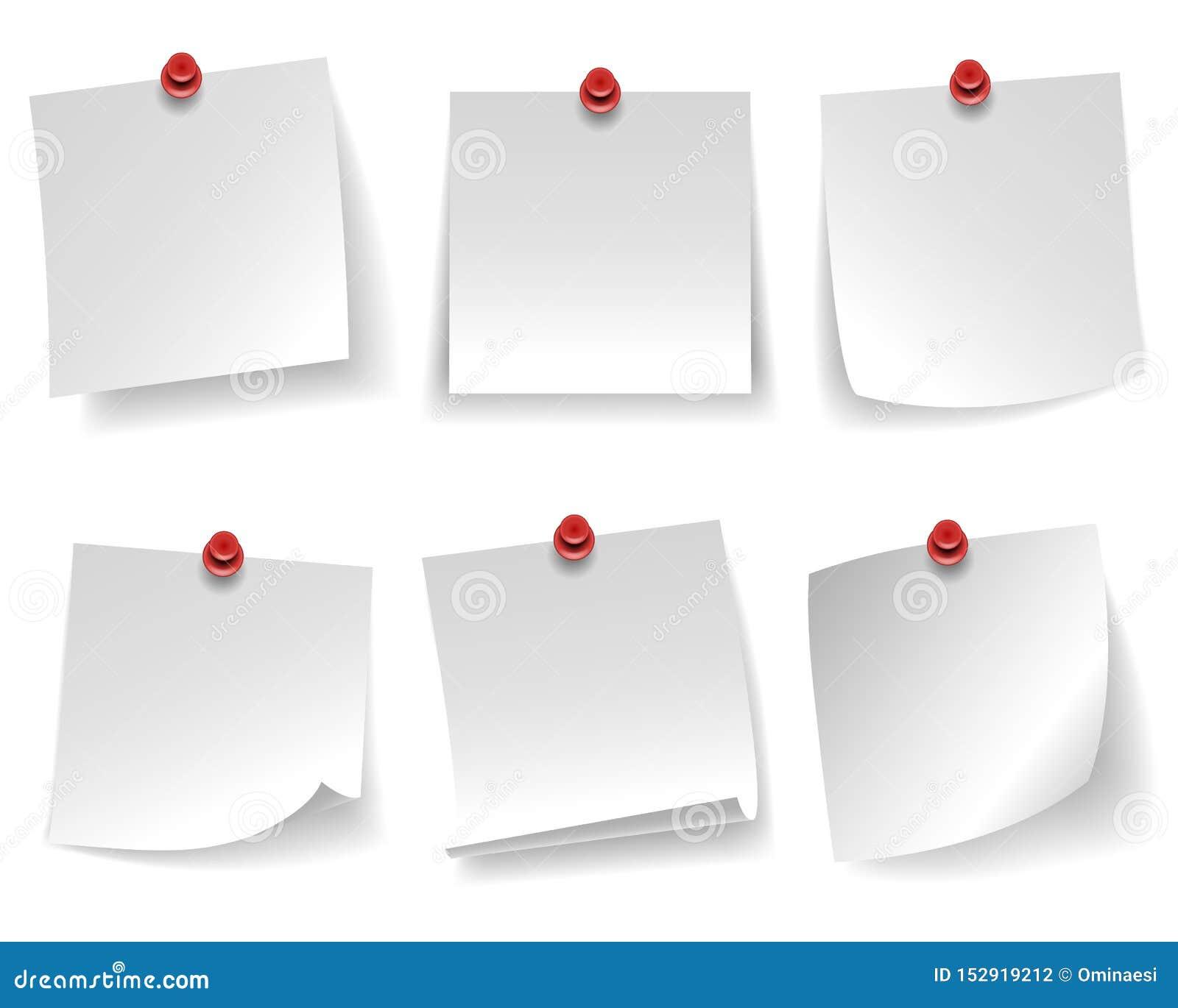 O papel de nota branco vazio fixado ondulou a mensagem vermelha de canto da tecla isolada na ilustração branca do vetor do fundo