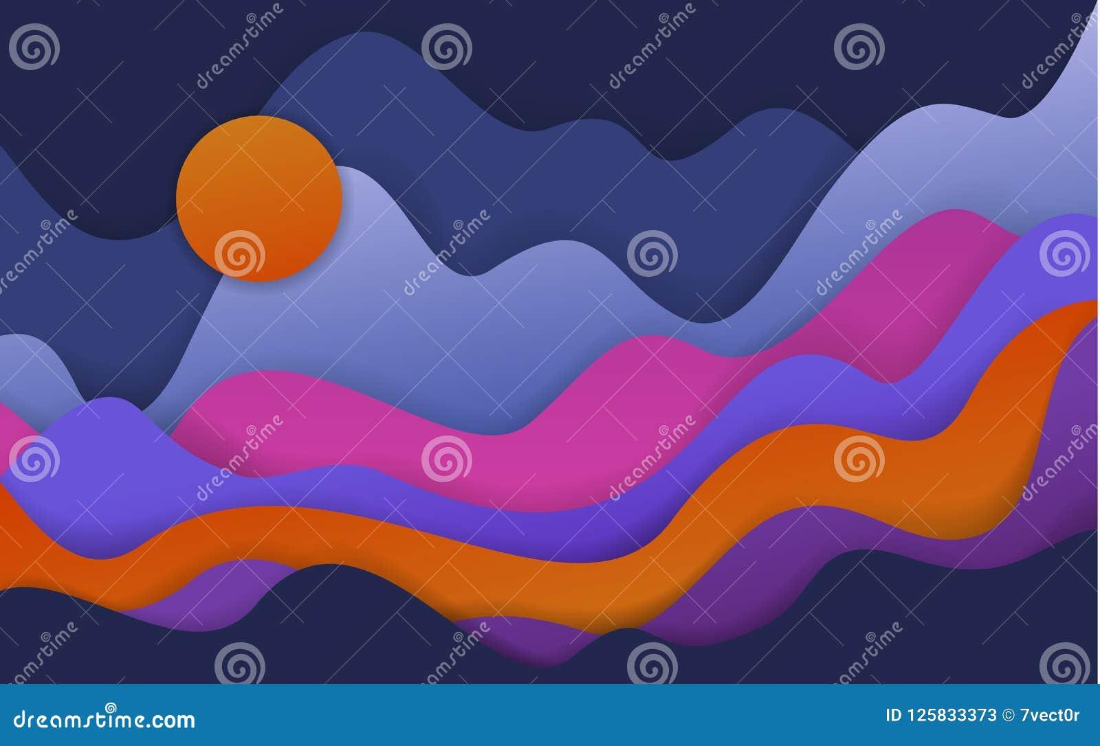 O papel ondulado abstrato cortou formas do estilo, paisagem da fantasia