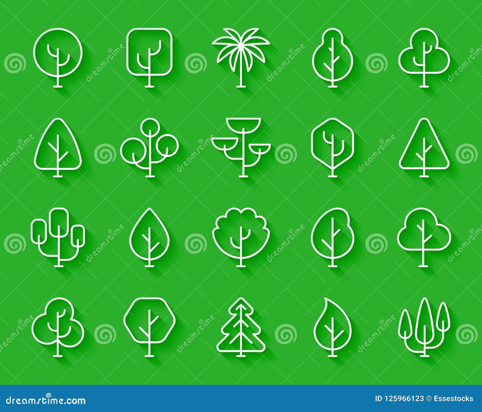 O papel simples das árvores geométricas cortou o grupo do vetor dos ícones