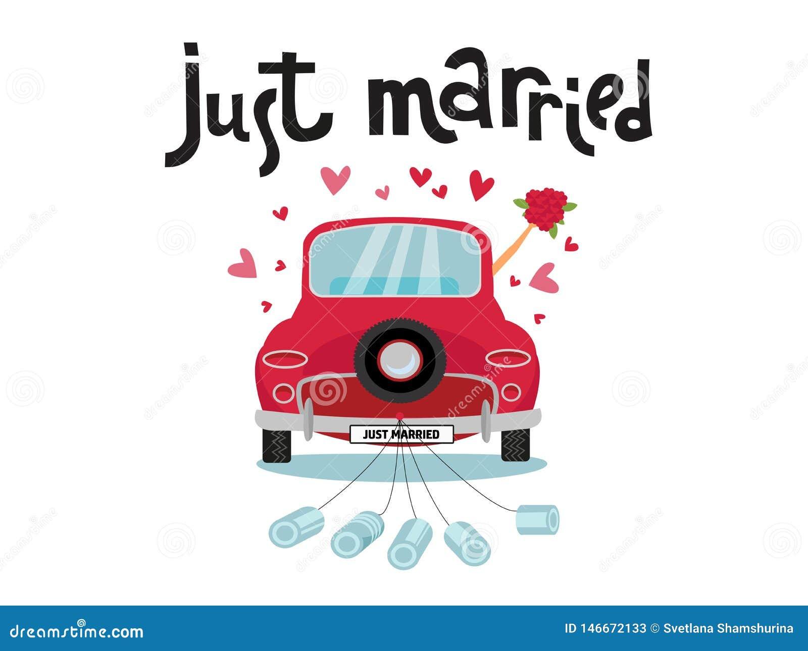 O par do rec?m-casado est? conduzindo um carro convert?vel do vintage para sua lua de mel com apenas sinal casado e as latas unid
