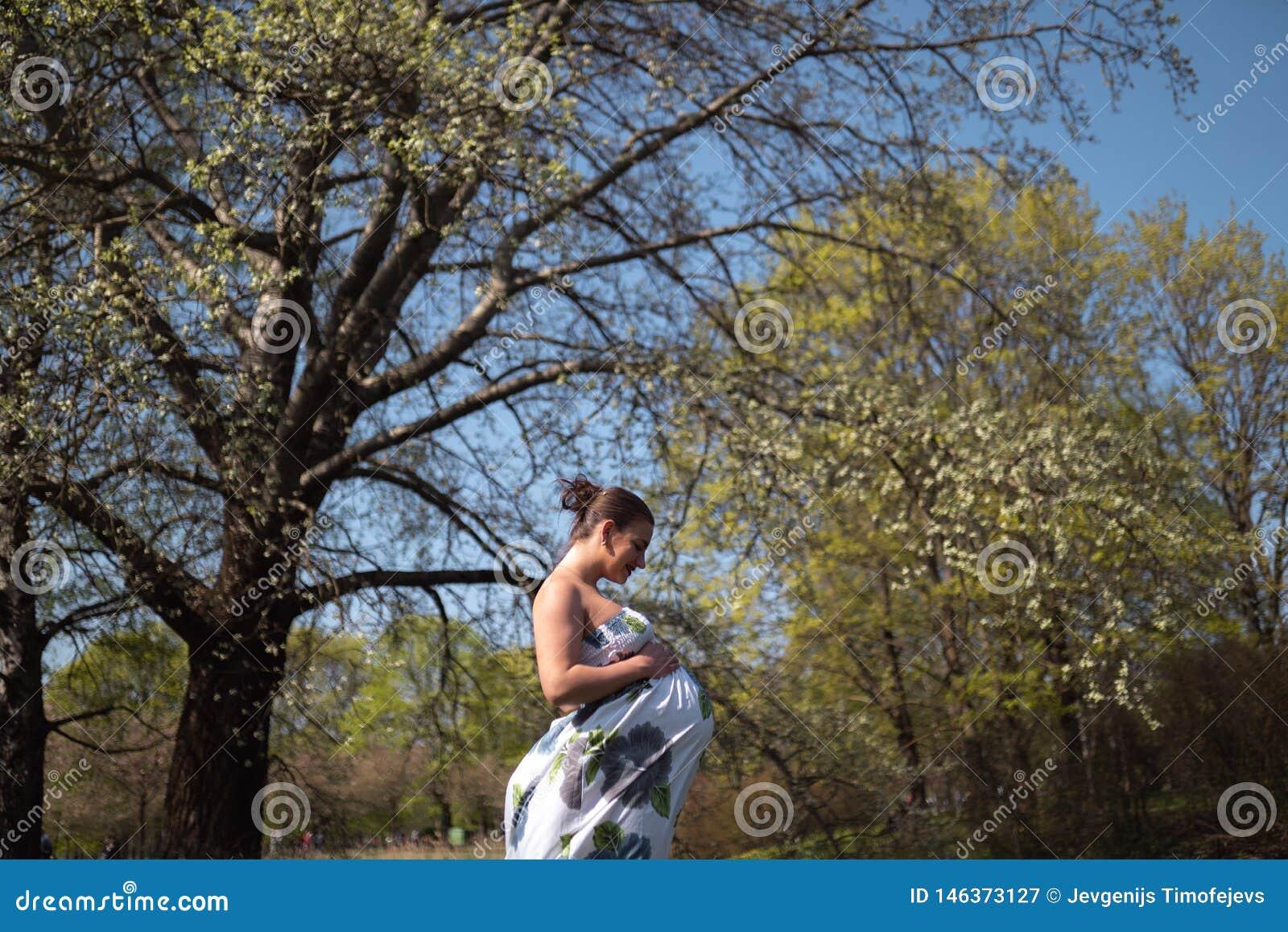 O passeio, o corredor novos da mulher gravida do viajante, girando ao redor e apreciam seu tempo livre do lazer em um parque com