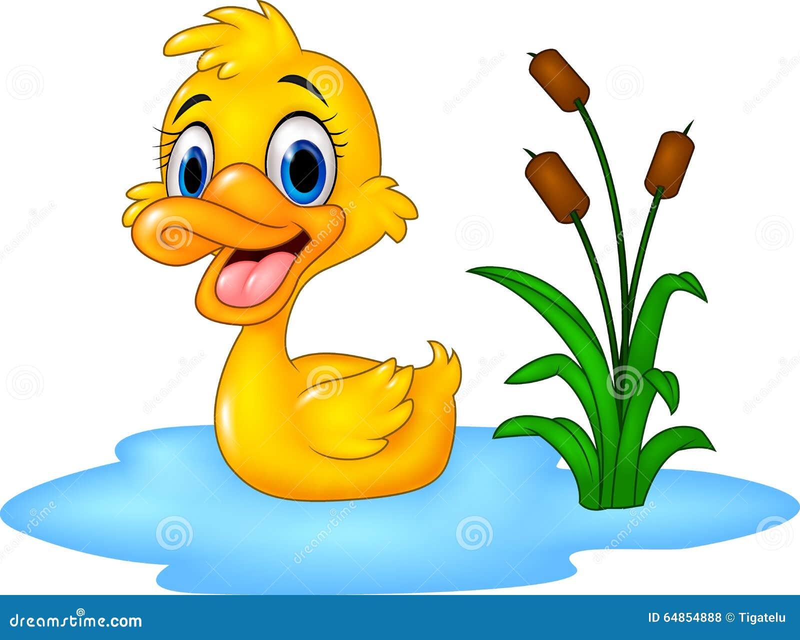 Zoológico De Animais Bebê Dos Desenhos Animados Vetor: O Pato Engraçado Do Bebê Dos Desenhos Animados Flutua Na