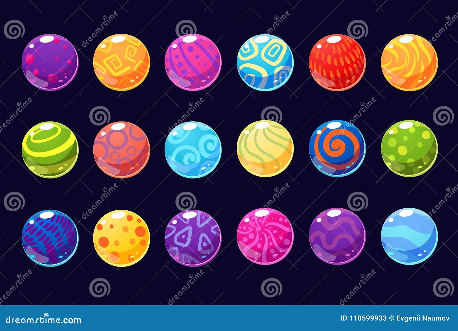 O pavimento colorido lustroso das bolas de ilustrações do vetor para o usetr dos apps, da Web e do jogo conecta