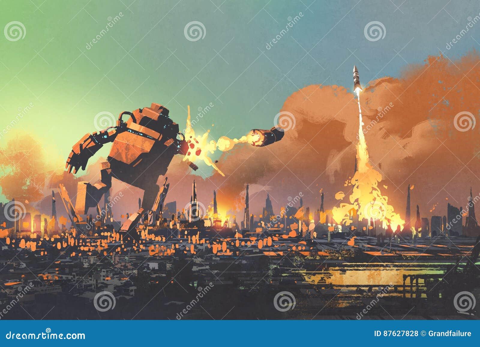 O perfurador de lançamento do foguete do robô gigante destrói a cidade