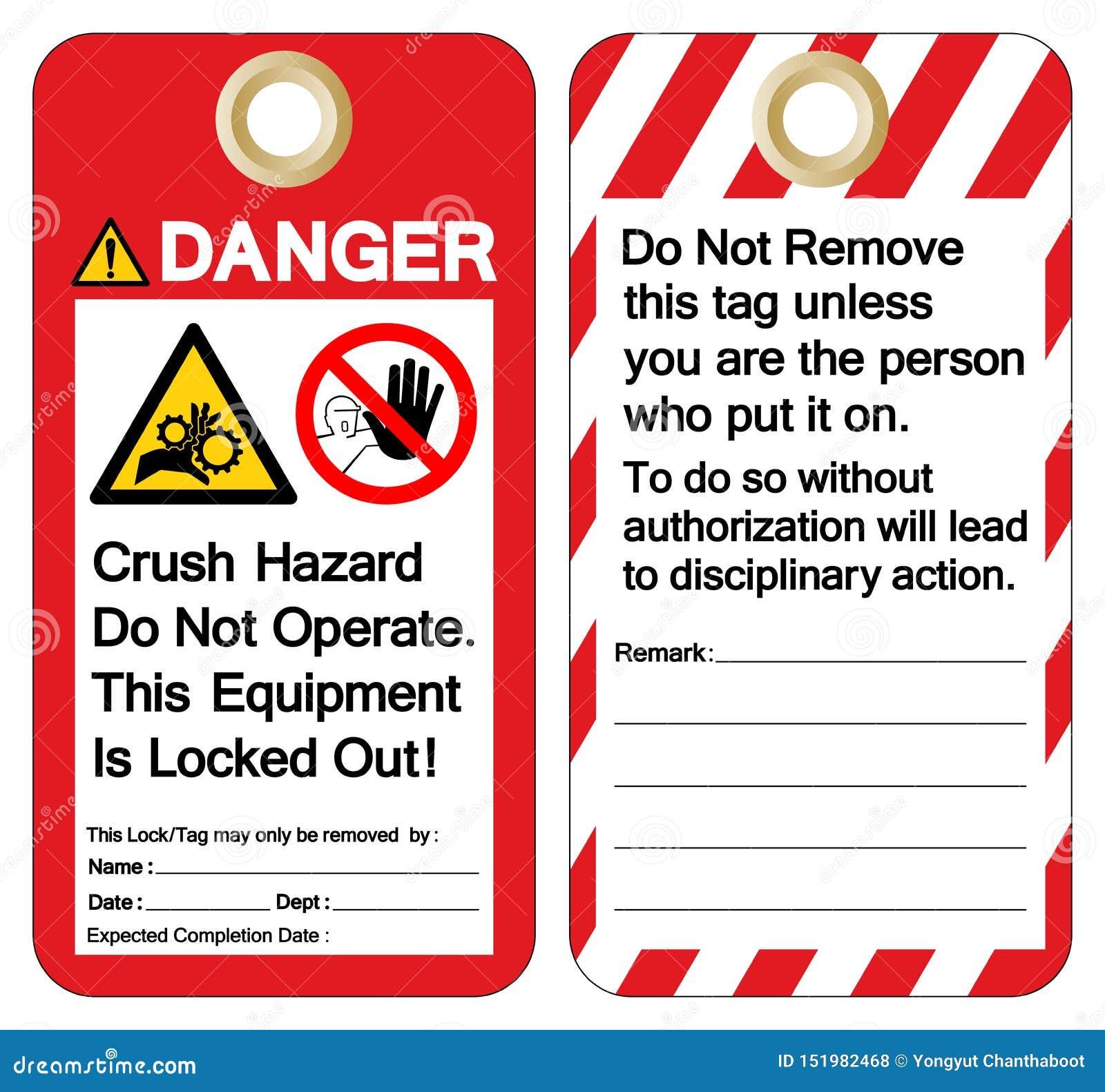 O perigo do esmagamento do perigo n?o opera este equipamento ? sinal para fora travado do s?mbolo, ilustra??o do vetor, isolado n