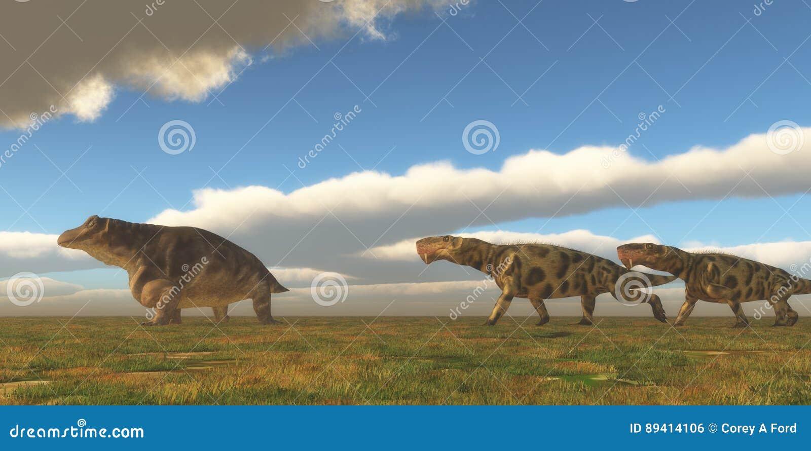 O Permian Inostrancevia caça Keratocephalus