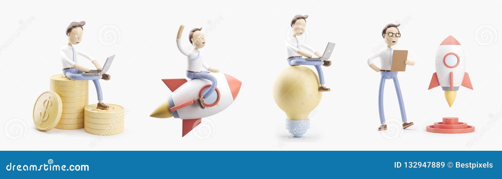 O personagem de banda desenhada voa em um foguete no espaço Grupo das ilustrações 3d conceito da partida do ind da faculdade cria