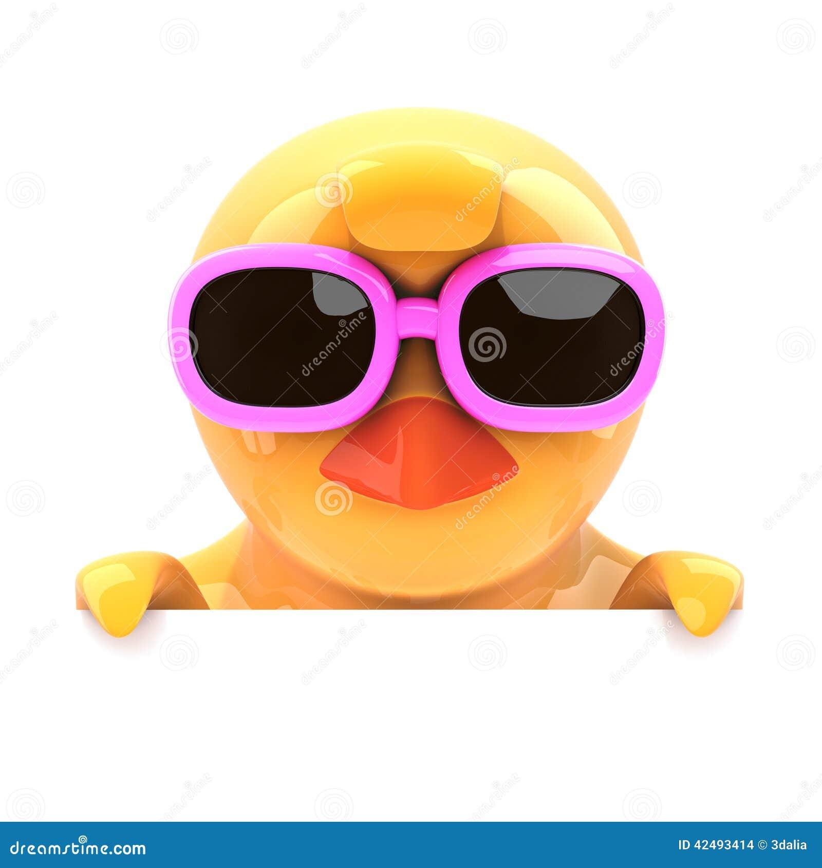 3d rendem de um pintainho pequeno nos óculos de sol cor-de-rosa que olham  sobre a parte superior do espaço vazio 2b0c5a2628