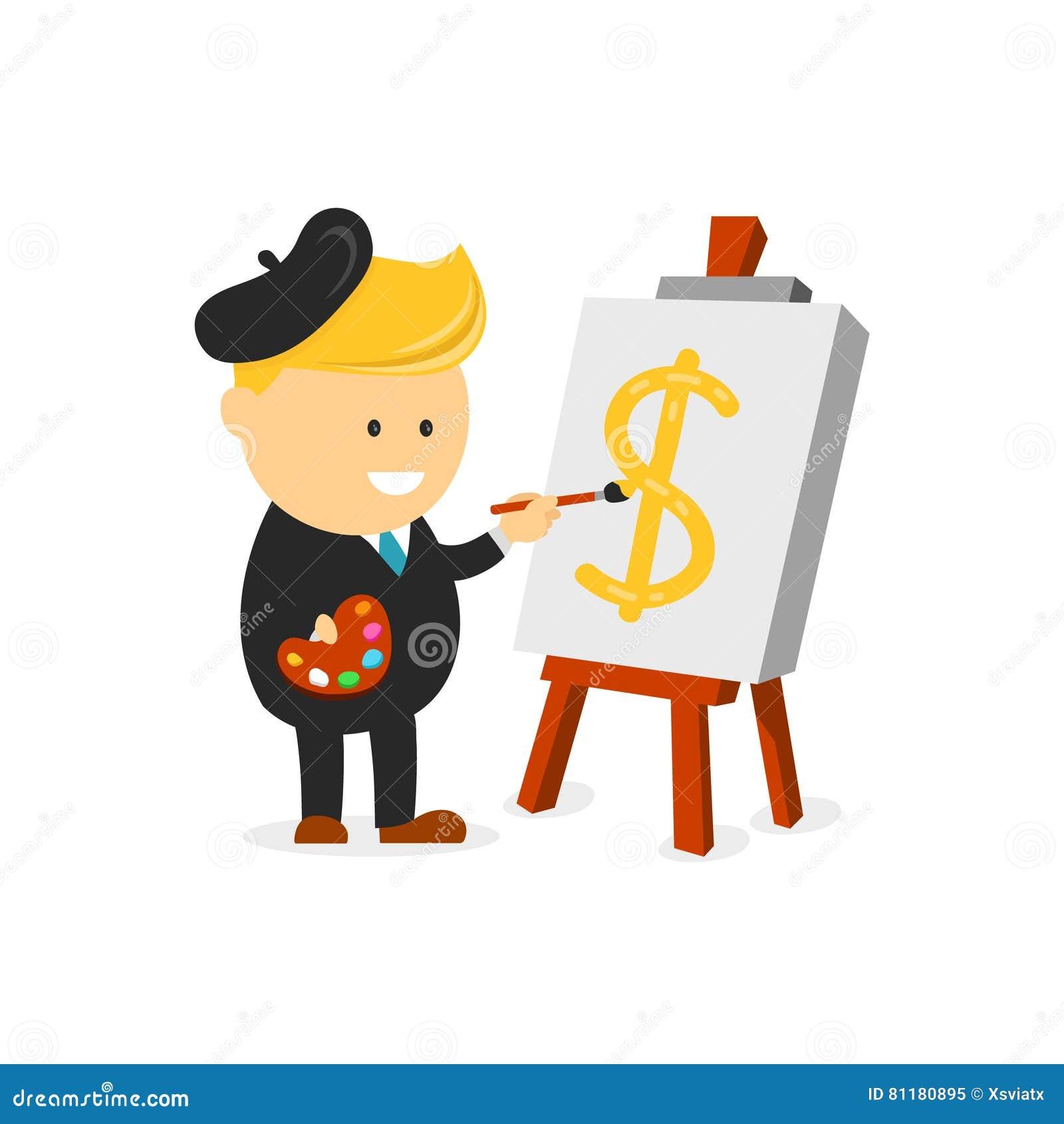 O pintor do artista do homem de negócios tira um sinal de dólar na lona o conceito criativo do negócio cria sua finança principal