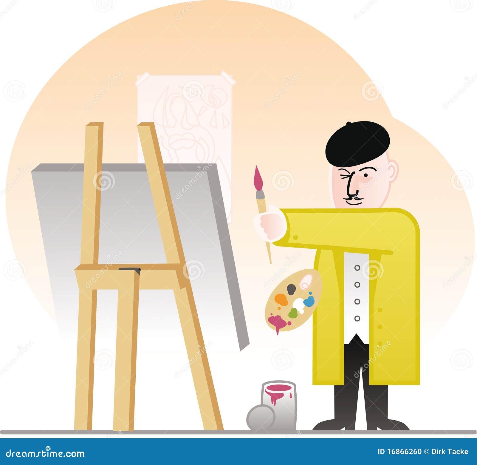 O pintor mestre inspeciona seu trabalho