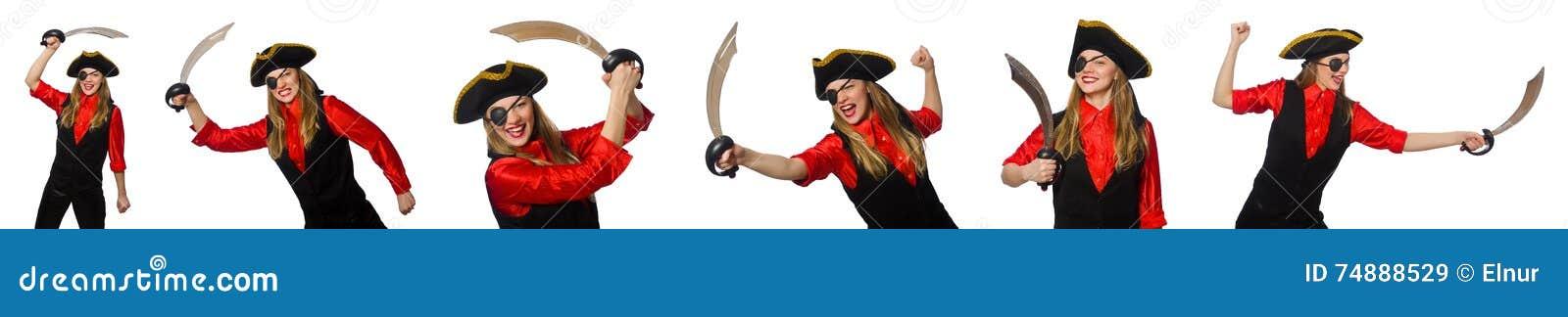 O pirata da mulher em vários conceitos no branco