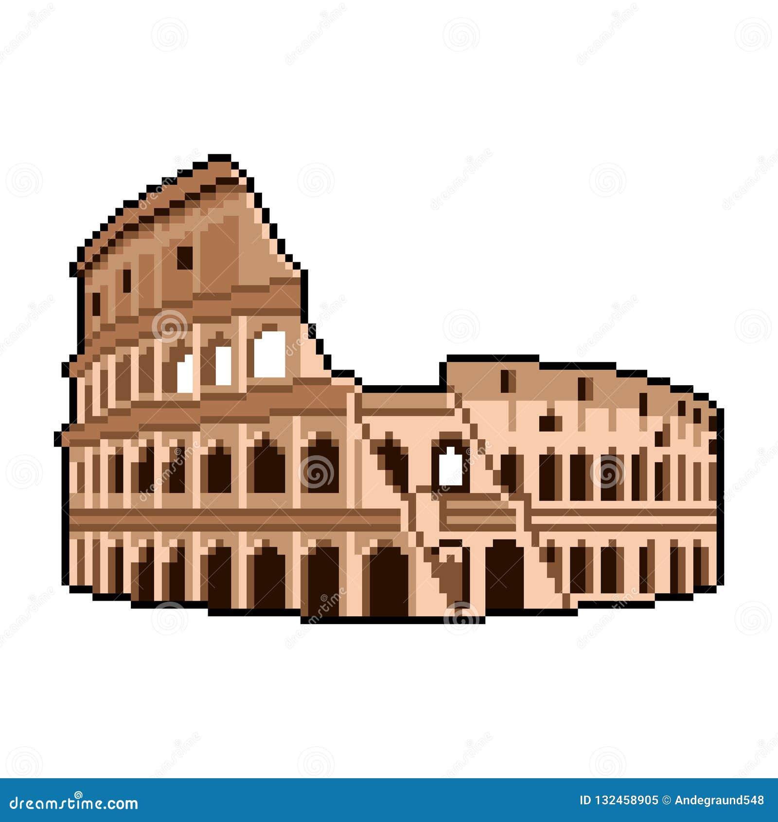O pixel Roman Coliseum quer saber do vetor isolado do mundo ilustração detalhada