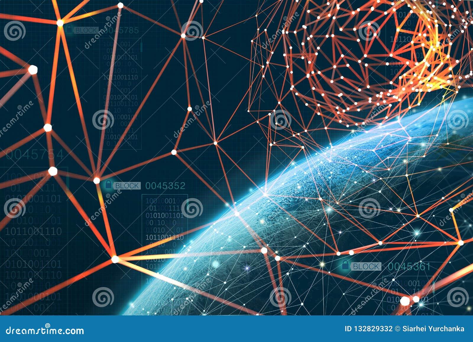 O planeta é cercado por uma rede de informação global A tecnologia de Blockchain protege dados Era da inteligência artificial