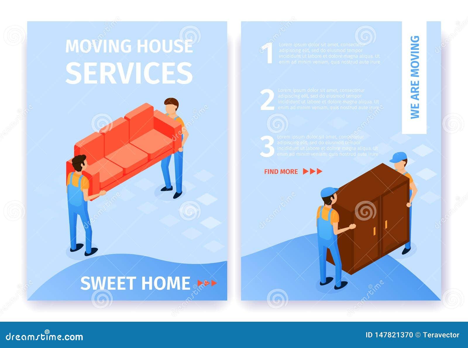 O plano ajustou desenhos animados doces móveis da casa dos serviços da casa