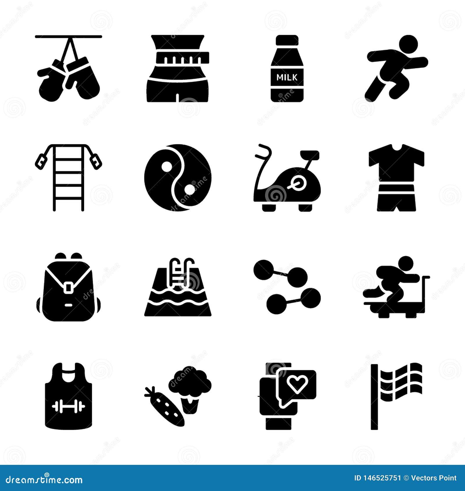 O plano da dieta, esportes suplementa, ícones das nutrições