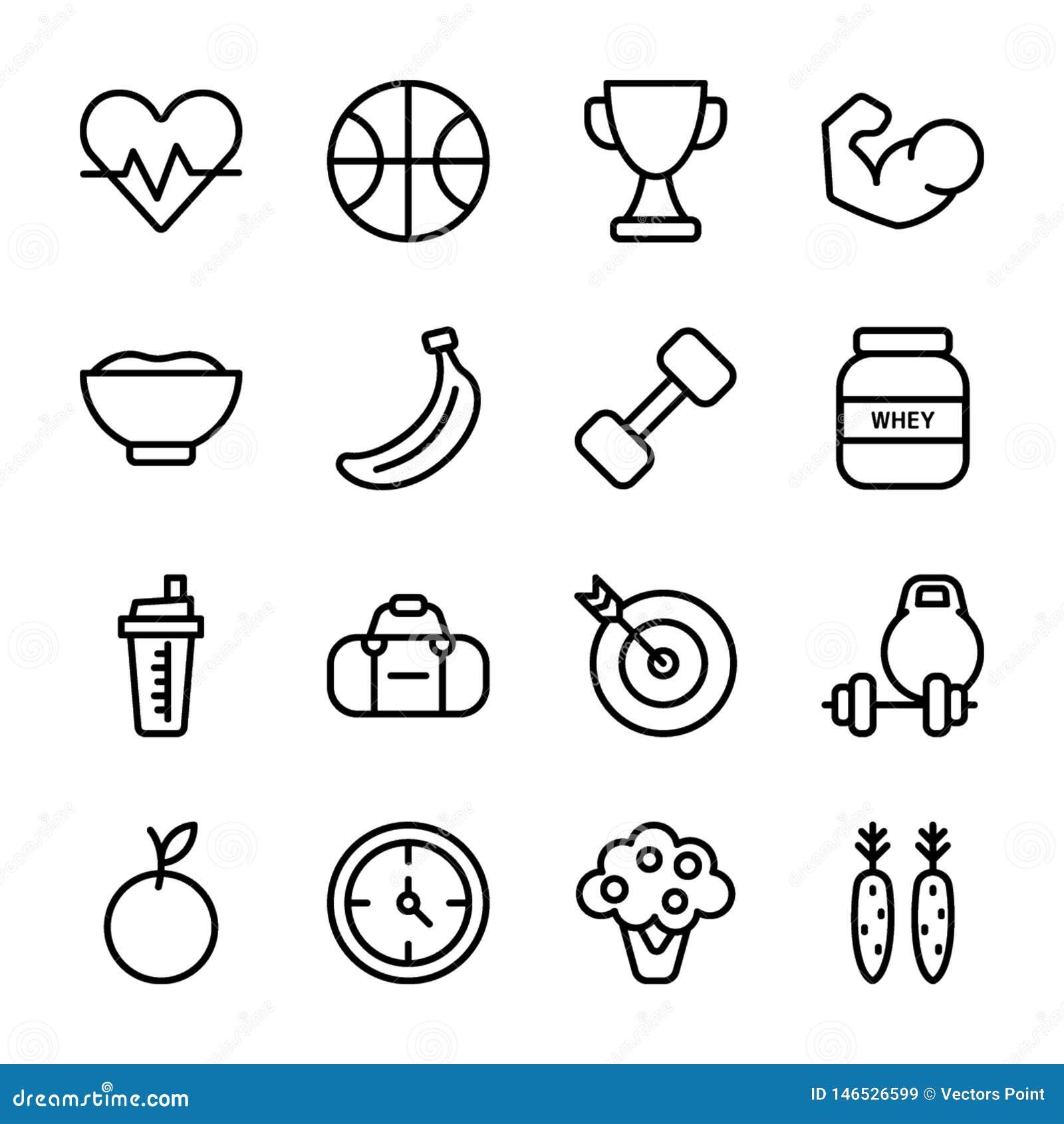 O plano da dieta, esportes suplementa, grupo dos ícones da nutrição
