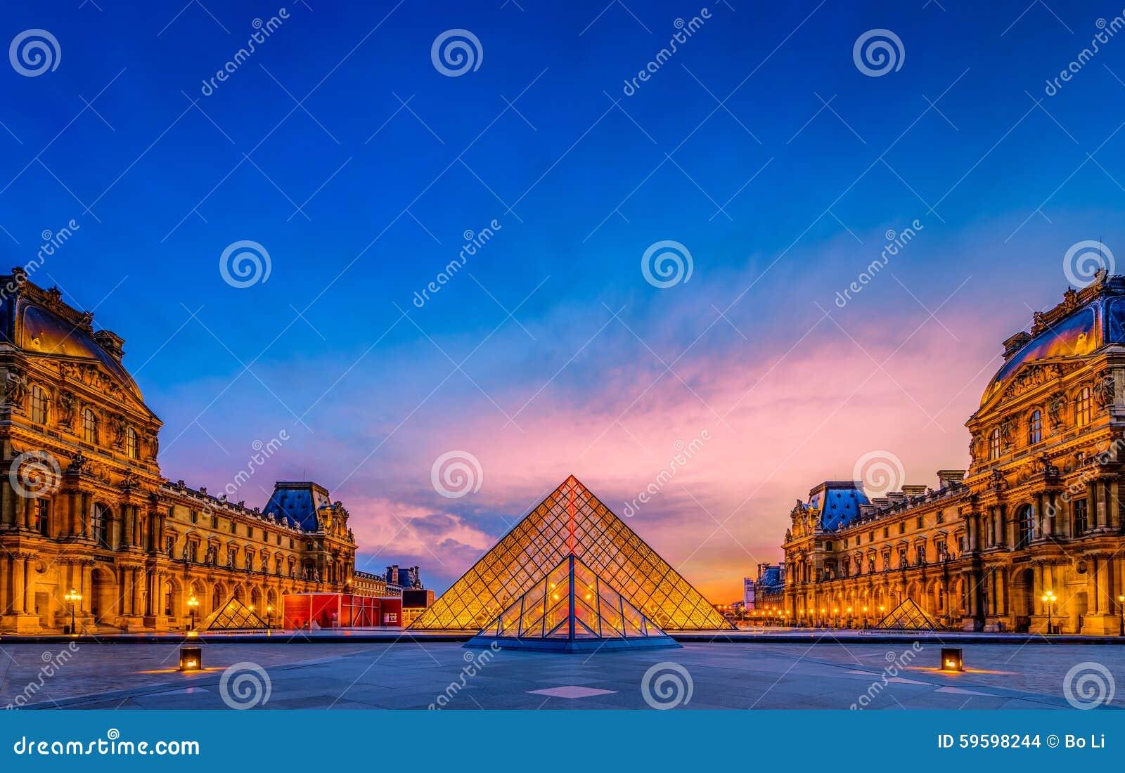 O por do sol do museu do Louvre