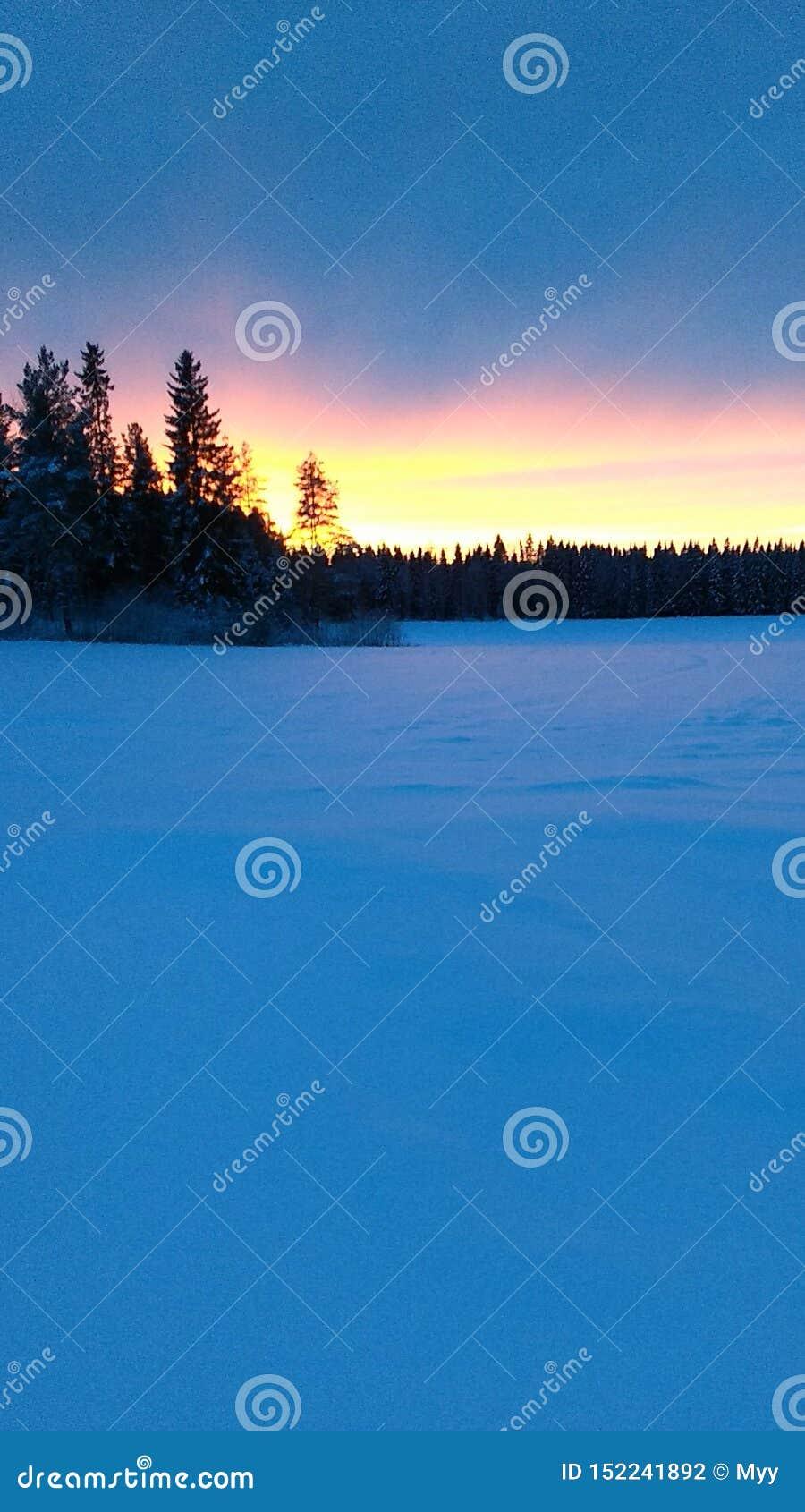 O por do sol no inverno